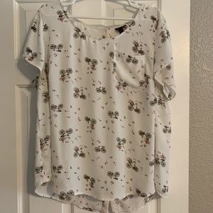 Torrid Abbey Blouse - White Flowers/Bicycles